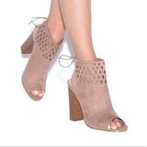 NWT taupe heels with cutouts